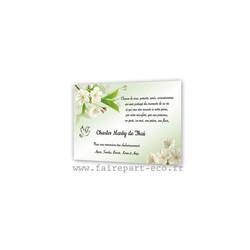 Fleurs blanches hommage au défunt cartes condoléances Bijoux, amalgame print grenoble - Voir en grand