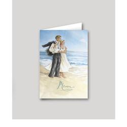 Menu part mariage, Aquarelle amoureux à la mer, amalgame imprimeur à grenoble - Voir en grand