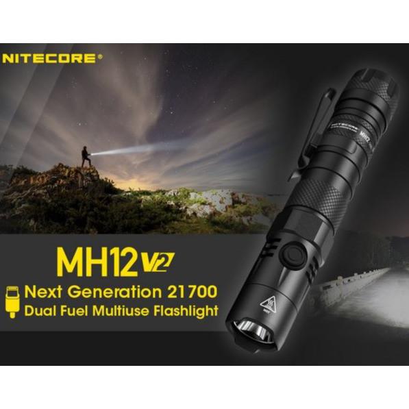 lampe mh12 v2 nitecore torche 1200 lumens 3 modes d'éclairage & strobe rechargeable package pas che - Voir en grand