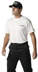 t.shirt blanc marquage sécurité noir coeur et dos - Voir en grand