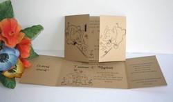 2 elephants amoureux, Faire part mariage papier kraft fines rayures, amalgame imprimeur grenoble - Voir en grand