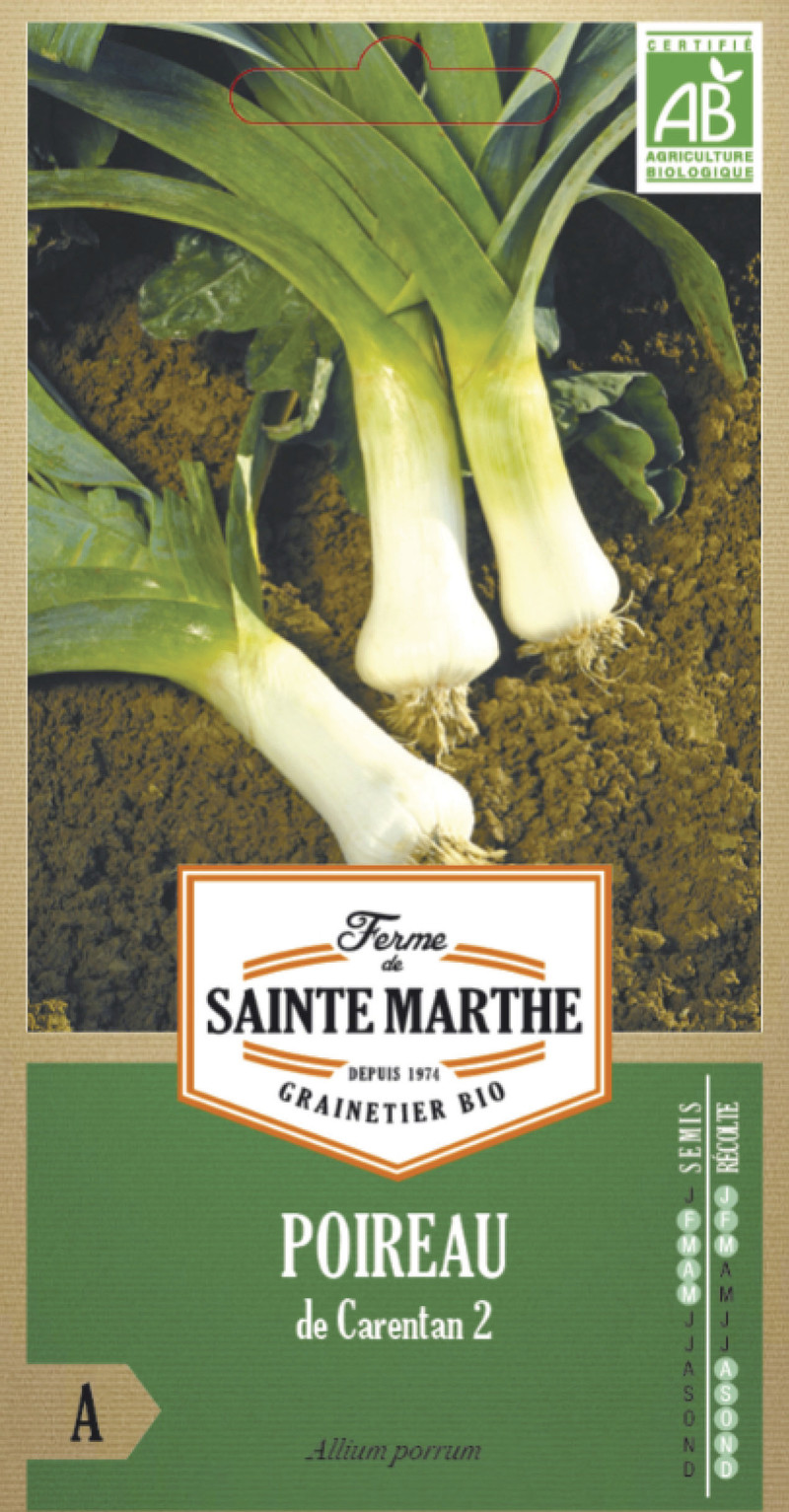poireau de carentan 2 bio la ferme de sainte marthe graine semence potager sachet semis - Voir en grand