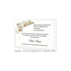 Branche Orchidee blanc, Carte remerciements décès, condoléances, décès, imprimerie amalgame grenoble - Voir en grand