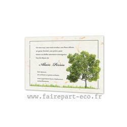 Arbre chêne, Remerciements de décès, condoléances papier Kraft, Lilian, amalgame print Grenoble - Voir en grand