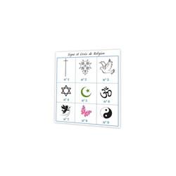 Signes religieux, carte deces, symbole et croyance, imprimerie Print grenoble - Voir en grand