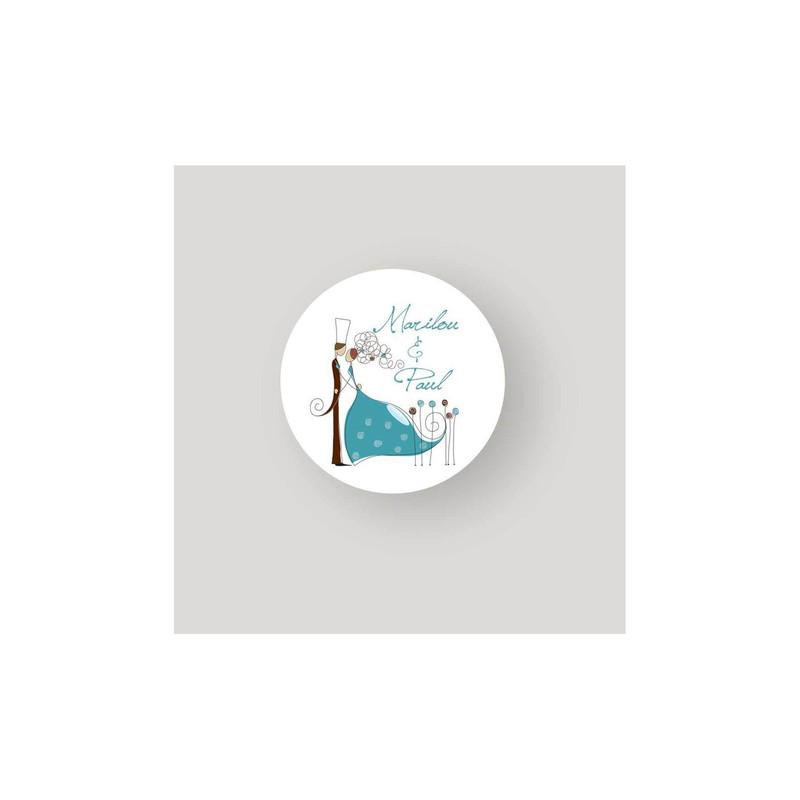 Faire part mariage turquoise, etiquette ronde moderne Charlety, amalgame print grenoble - Voir en grand