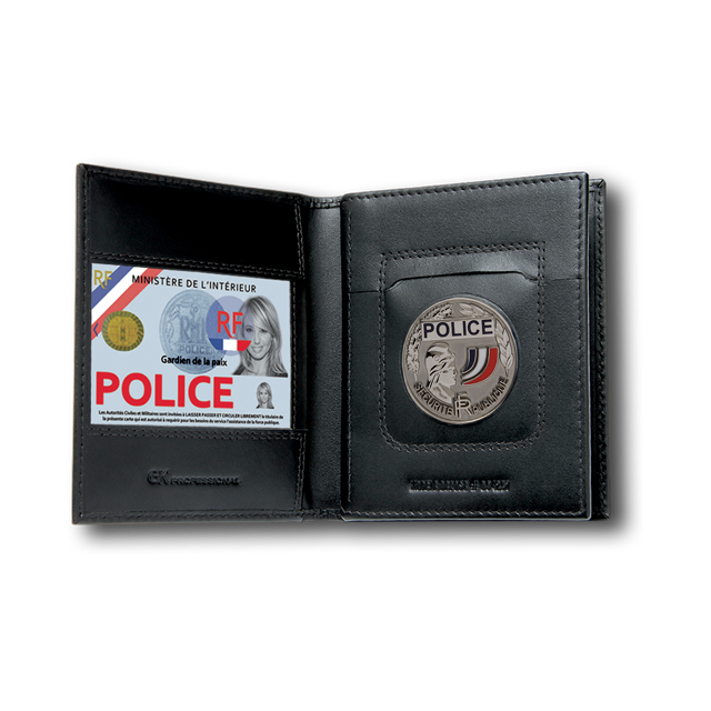 porte carte 4281 gk 3 volets emplacement médaille carte pro carte vitale police gendarmerie securite - Voir en grand
