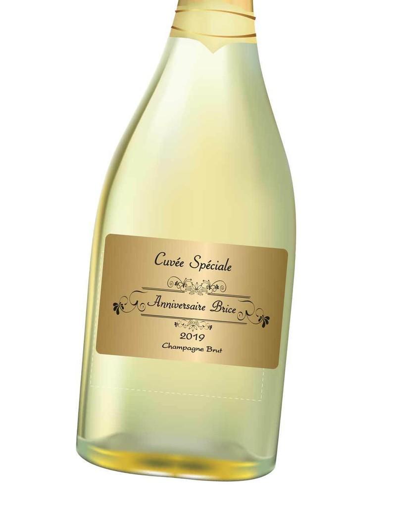 Etiquette Or Personnalis E Bouteille Vin Champagne Amalgame