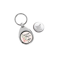 Porte clé étal argenté, spéciale maman, design unique, graveur amalgame grenoble - Voir en grand