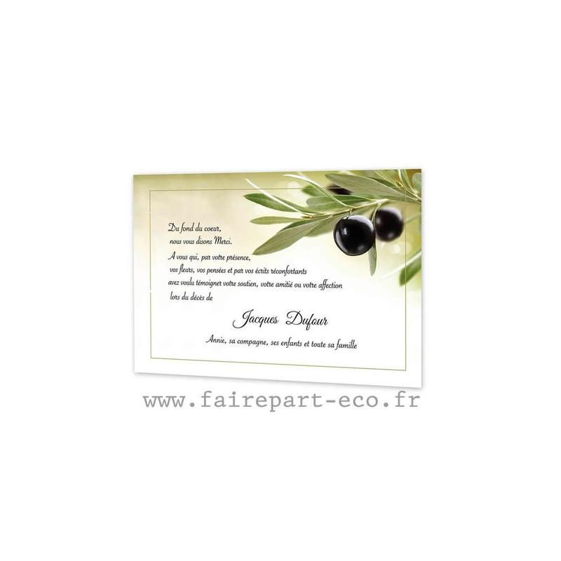 la Provence Branche Olivier, Carte remerciement décès, condoléance, amalgame imprimerie, grenoble - Voir en grand