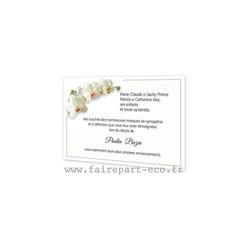 3 Orchidee blanc, Carte remerciements décès, condoléances, décès, imprimerie amalgame grenoble - Voir en grand