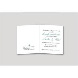 Faire part mariage turquoise, invitation moderne, texte, Charlety, amalgame print grenoble