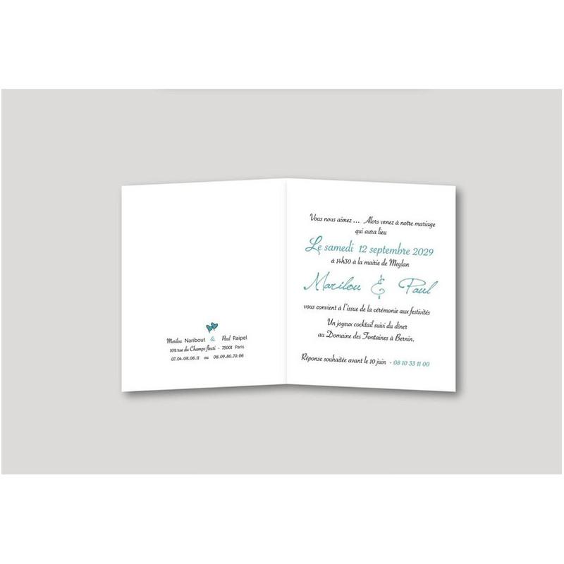 Faire part mariage turquoise, invitation moderne, texte, Charlety, amalgame print grenoble - Voir en grand