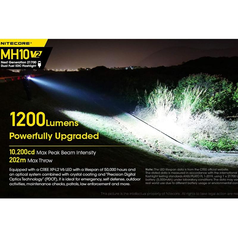lampe torche mh10v2 nitecore 1200 lumens clip ceinture étui  système de rechargement - Voir en grand