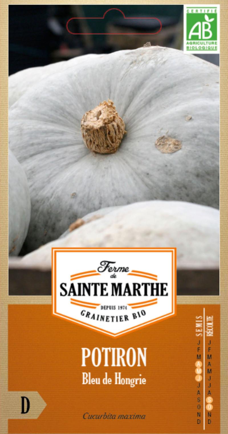 potiron bleu de hongrie bio ferme de sainte marthe graine semence potager sachet semis - Voir en grand