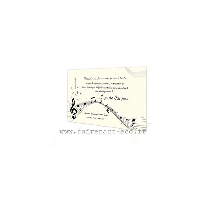 Musicien, Notes musique, Carte remerciement deces, deuil, condoléances, amalgame imprimerie Grenoble - Voir en grand