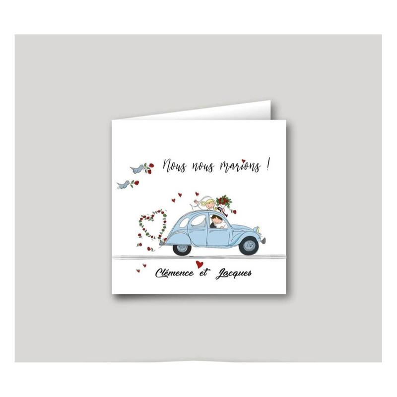 2CV retro bleu tendre, faire part mariage, carte invitation, amalgame imprimeur grenoble - Voir en grand