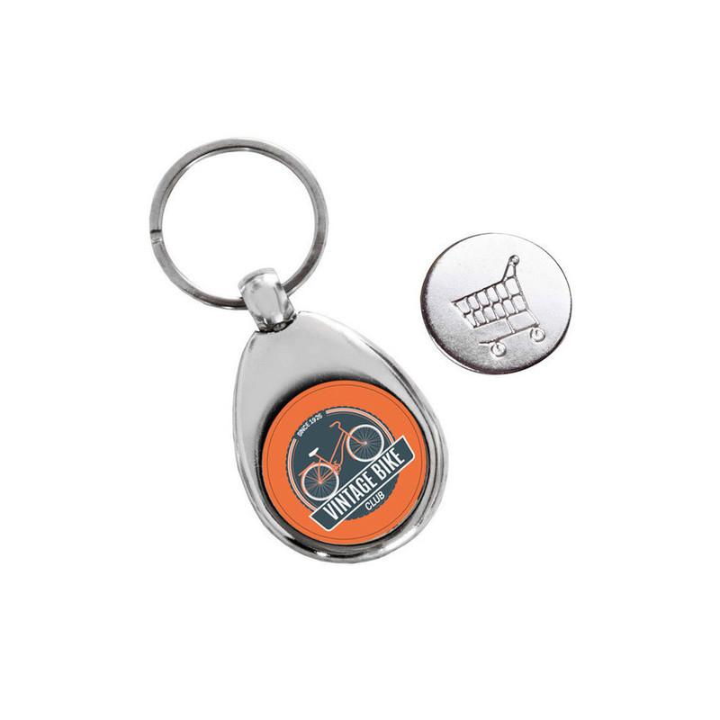 Porte clé métal argenté,  avec  jeton de caddie. personnalisé couleur amalgame grenoble - Voir en grand