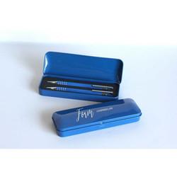 Parure de Bureau Coffret métal 2 stylos, Bleu personnalisé, Memphis, marquage amalgame Grenoble