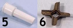 N°5 Poussoir - N°6 couteau pièces détachées Kenwood  hachoir AT261 Prospero KM262 - KM266 - Voir en grand