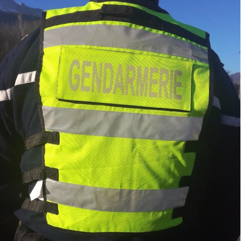 gilet gendarmerie haute visibilité multi-poches jaune fluo bandes rétro pas cher - Voir en grand