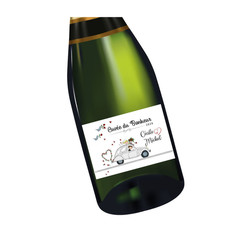 etiquette bouteille mariage, 2CV retro grise,  voyage nostalgie, amalgame imprimerie grenoble - Voir en grand