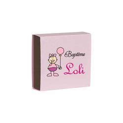 boite à dragée ROSE, pour petite fille, personnalisée, amalgame imprimerie à grenoble - Voir en grand