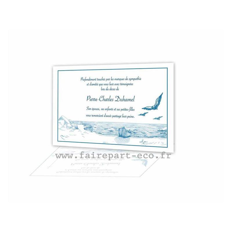 La Mer L Ocean Bateau Pecheur Carte Remerciement Deces Condoleance Amalgame Imprimeur Graveur