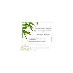 carte emerciement décès, condoléance, coccinelle rouge, branche bamboo, amalgame imprimeur grenoble
