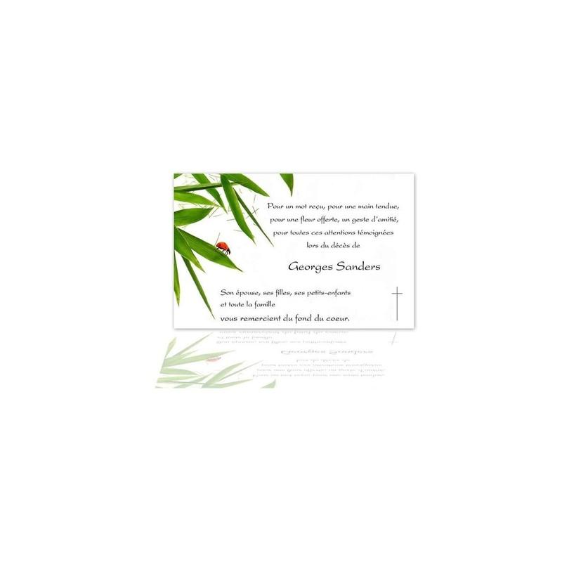 carte emerciement décès, condoléance, coccinelle rouge, branche bamboo, amalgame imprimeur grenoble - Voir en grand