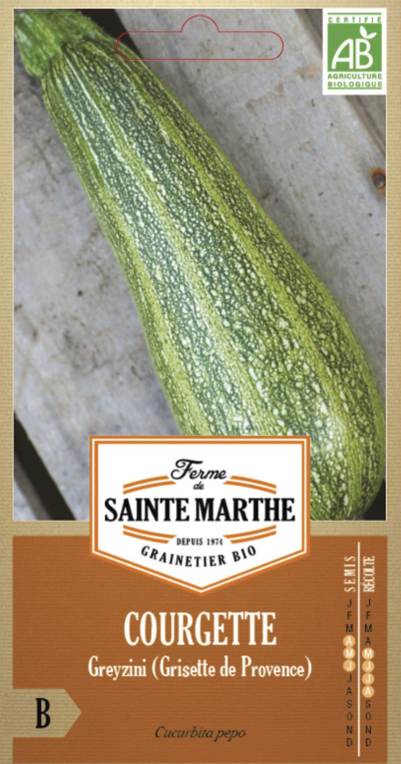 courgette greyzini grisette de provence bio la ferme de sainte marthe graine semence potager sachet - Voir en grand
