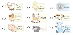 Etiquette, stickers, timbres, pour boite à dragées, ballotins, enveloppe, menu  personnalisées - Voir en grand
