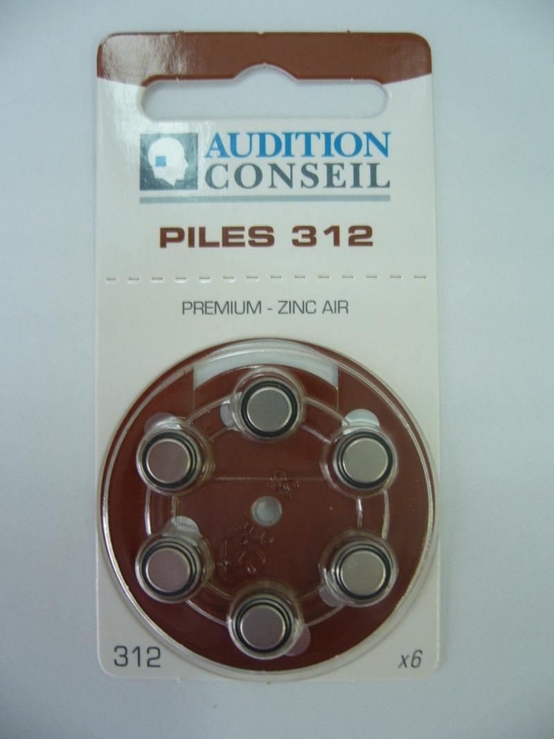 PILES AUDITIVES 312 AUDITION CONSEIL - Piles auditives - Audition Conseil - Voir en grand
