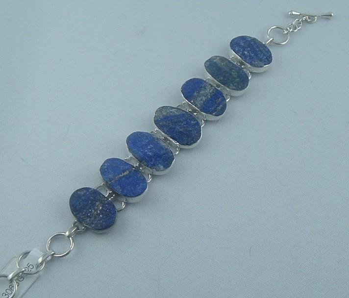 Bracelet  Lapis - lazuli pierre brut - les bracelets - ATELIER LE BERY'L - Voir en grand