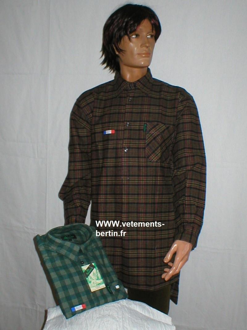 Chemise grand panet homme La Forestière, coton, jupe fermée, fabrication Française - Voir en grand