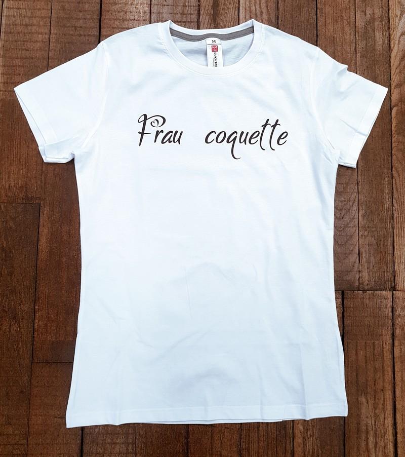 """T-shirt blanc """"Frau coquette"""" - Voir en grand"""