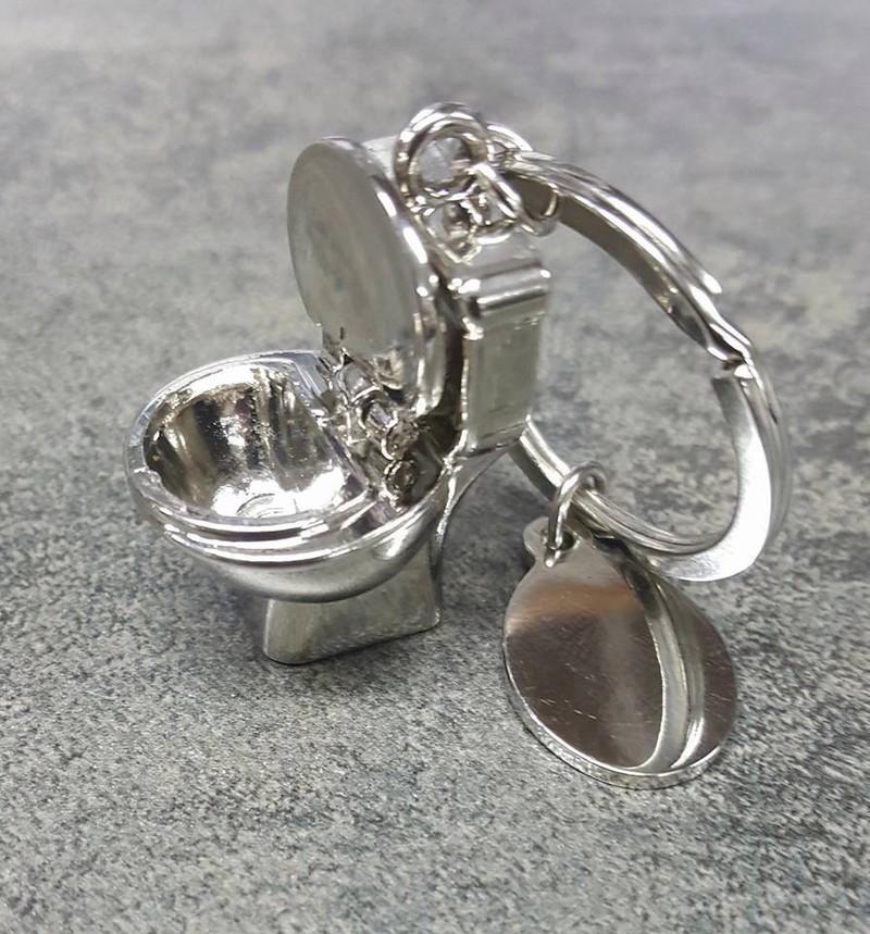 Porte-clés cuvette de wc chromé abattant amovible - Voir en grand