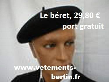 Béret pure laine en bleu marine B, www., port gratuit - Voir en grand