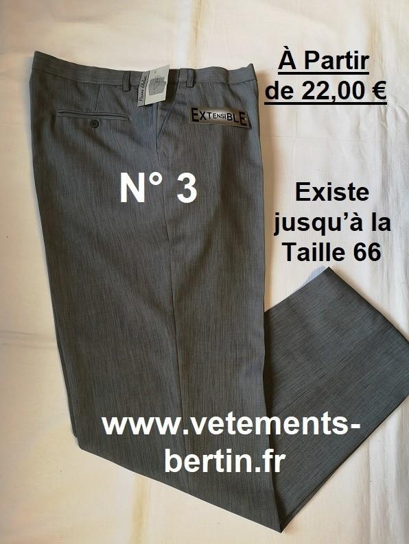 Pantalon Homme Habillé, 100 % Pyester, N°3,  www.vetements-bertin.fr - Voir en grand