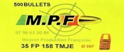 OGIVES MPF SWC 38/357 158GR TMJE   - OGIVES M.P.F - GIPECHASSE - Voir en grand