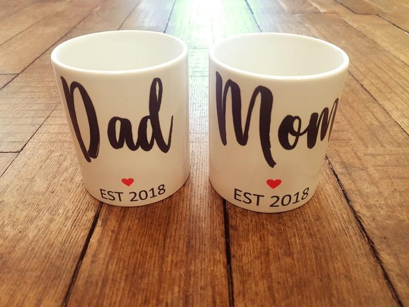 Mug tasse Mom ou mug tasse Dad date personnalisée - Voir en grand