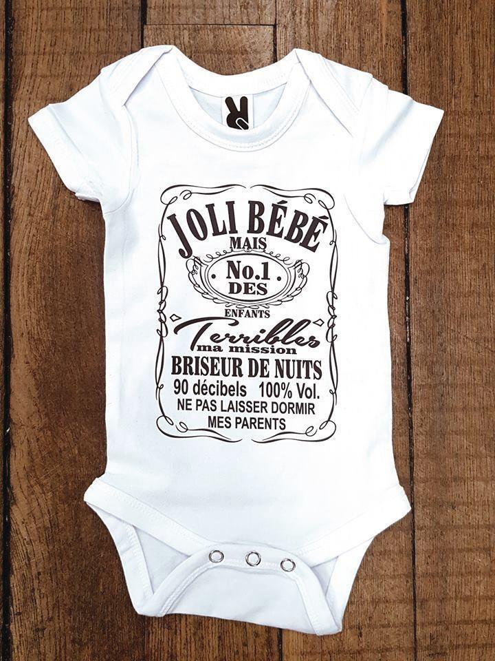 Body personnalisé Joli bébé mais N°1 des enfants terribles - TIME S -  CADEAUX PERSONNALISES 0d2dd4d9722