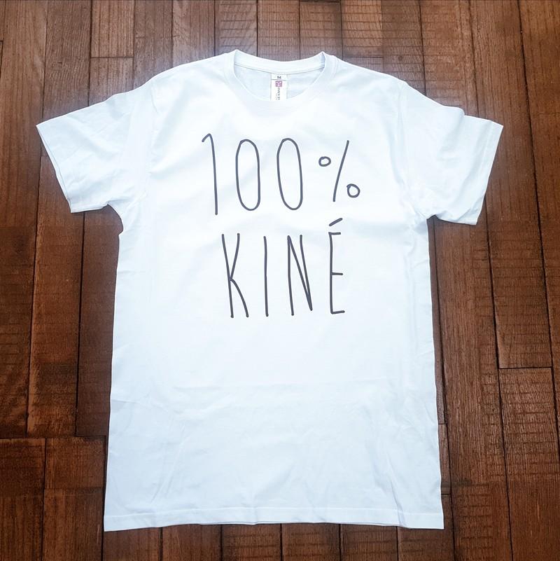 T-shirt blanc 100% kiné - T-SHIRT PERSONNALISE A MESSAGE - TIME'S - CADEAUX PERSONNALISES - Voir en grand