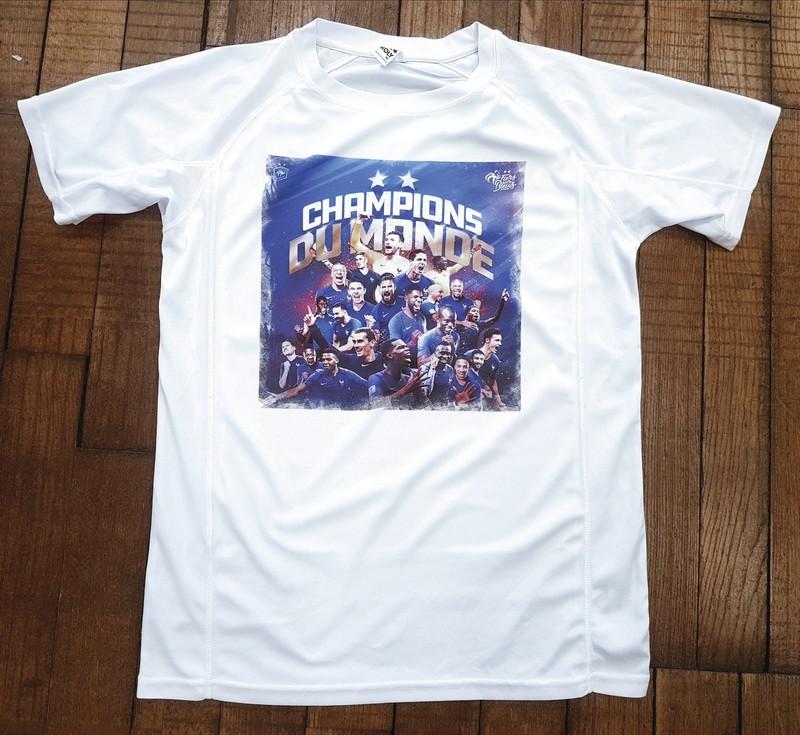 T-shirt blanc technique Photo équipe de France de Football - Voir en grand