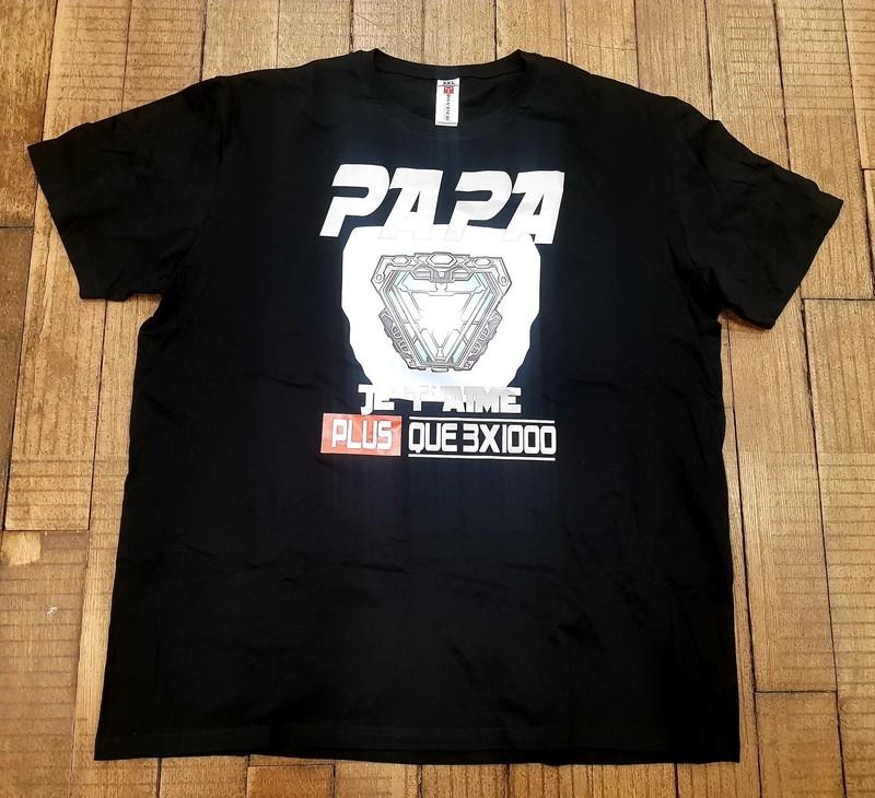 T-shirt noir Papa je t'aime plus que 3 fois 1000 - Voir en grand