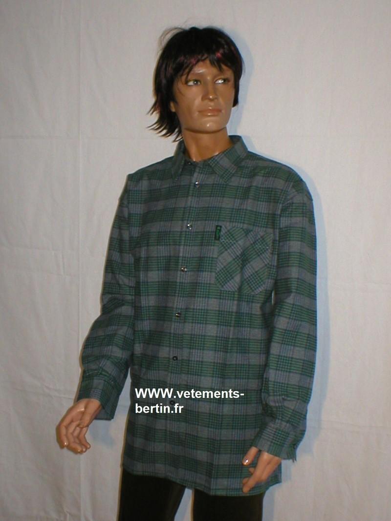 Chemise grand panet homme La Forestière, coton, jupe ouverte, tissus tissé en France. - Voir en grand