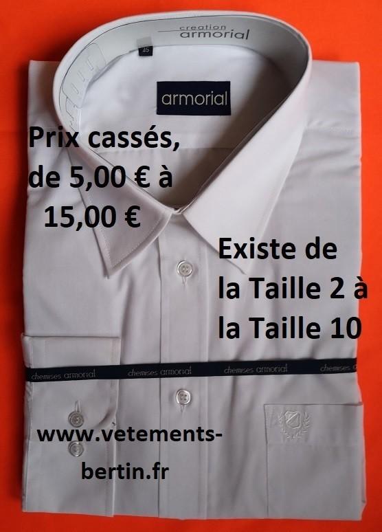 Chemise homme, prix cassés, Taille 2 à Taille 4, Internet, www.vetements-bertin.fr - Voir en grand