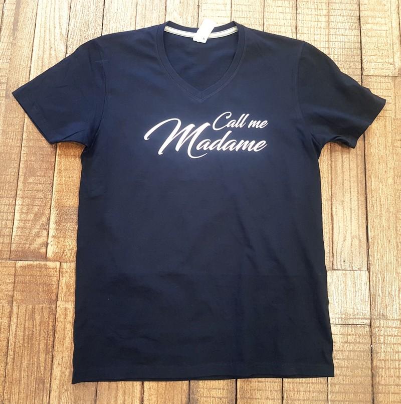 "T-shirt noir ""Call me madame"" - Voir en grand"