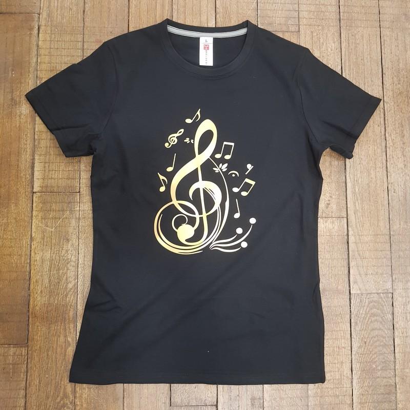 T-shirt Noir Clée de sol - Voir en grand