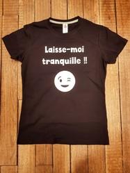 """T-shirt noir """"Laisse-moi tranquille"""" - Voir en grand"""